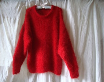 Mohair sweater hand knitted in Scarlet Red shade. Free shipping.