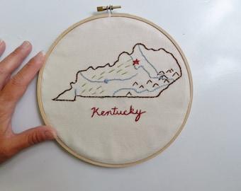 Kentucky State Map Wall Art. Home Map. Hand Embroidery Hoop Art. 7 in. Home Map Art. Personalized Art. Teacher classroom decor. College dorm