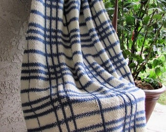 Hand Knitted Blanket OOAK Plaid Cream and Blue
