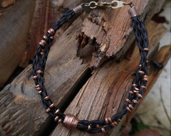 Horse Hair Bracelet with Copper Beads - Braided Horsehair
