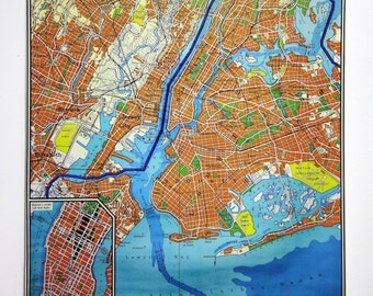 NEW YORK Manhattan classic 1962 wall map.