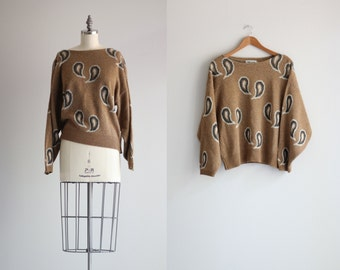 Brown Paisely Sweater . Oversized Boyfriend Sweater . 80s Slouchy Sweater