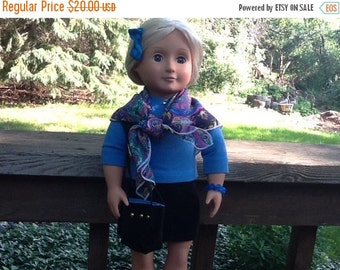 20% OFF - Blue and Black Skirt and Shirt Outfit with Scarf and Purse to fit 18 Inch Doll like American Girl, girls gifts, girls toys, doll s