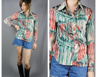 ON SALE 50% Ladies Vintage 60s ABSTRACT Pattern Shirt. (Small)
