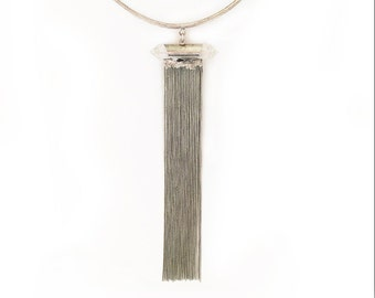 Crystal Fringe Collar - Antique Silver, crystal necklace, fringe choker