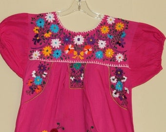 Mexican Ethnic Embroidered Flowers Fuchsia Color Size  38-40 Bust