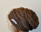 Slouchy Beanie Slouchy Hat  Crystal Brooch Hat Hand Knit Winter Women Hat CHOOSE COLOR Taupe Brown Milk Chocolate Chunky Christmas Gift