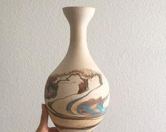 tall nemadji pottery vase / blue beige