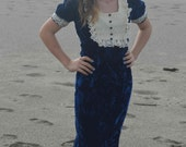 Seventies Velvet Sheath Dress - Royal Blue and Creme Lace Vintage Dress