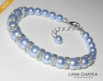 Light Blue Pearl Bracelet Wedding Blue Pearl Bracelet Swarovski Pearls Wedding Jewelry Light Blue Bracelet Bridal Bracelet Bridal Jewelry