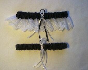 Black Satin / White Lace - 2 Piece Wedding Garter Set - 1 To Keep / 1 To Throw