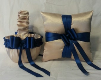 Champagne Satin With Navy Blue Trim Flower Girl Basket And Ring Bearer Pillow