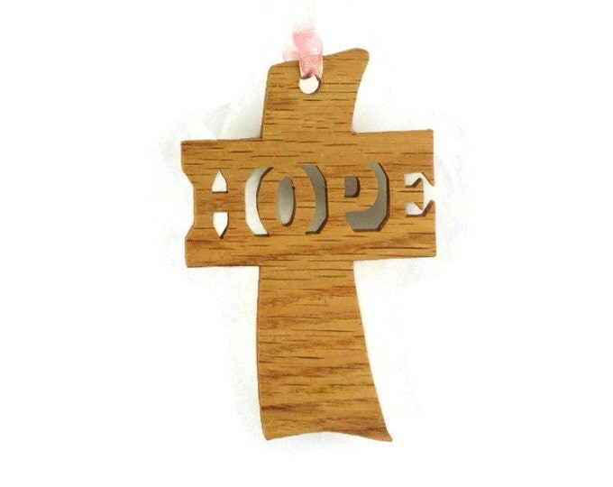 Hope Cross Christmas Ornament Handmade From Hickory Or Oak Wood