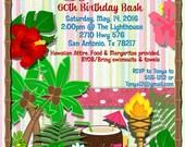 CUSTOM ORDER for Tonya for Luau Birthday Printed Invitations w/envelopes
