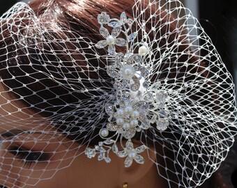 Birdcage Veil and Comb Set, Wedding Veil, Rhinestone Bridal Comb, 2 piece set, White, Russian netting, Pouf, Flower Spray, Jennifer Jones