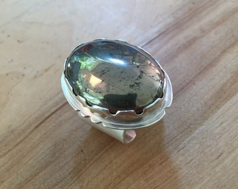 PYRITE RING  - All Sterling Silver with Scolloped High-Edge Bezel and Extra wide sterling band