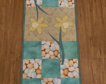 Easter Spring Flowers, Bunnies, Carrots, and Eggs Table Runner