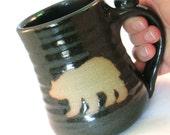 Bear Mug - Handmade Pottery - Pottersong Mug - Coffee mug  - Brown bear - Wild Animal - Silhouette Art - Walnut Brown -  Tea Cup