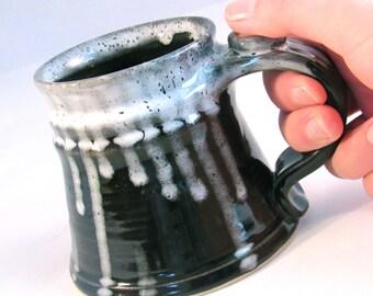 12 oz.Tankard, Stein, Coffee Mug - Handmade Pottery Glazed in Glossy Black, White and Grey