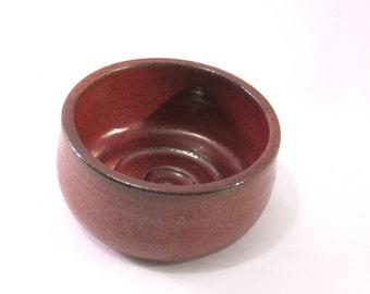 Man's Shaving Bowl Handmade Pottery - Comfort Shave - Ridges for Good Soap Lather - Glazed Rust Red