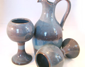 Wine Serving Set - Handmade Pottery Decanter and Two Goblets Glazed in Retro Steel Blue