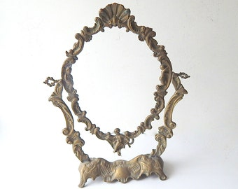 Large French Vintage Bronze Table Top Mirror Frame