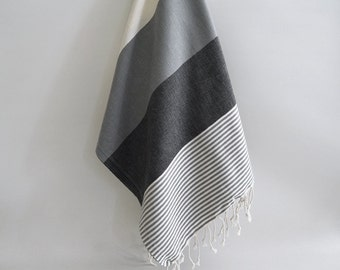BathStyle / Turkish Beach Bath Towel / Classic Peshtemal / Gray Black / Wedding Gift, Spa, Swim, Pool Towels and Pareo