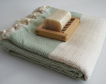 NEW / SALE 50 OFF/ BathStyle / Green Gingham / Diamond Style Turkish Beach Bath Towel Peshtemal / Bath, Beach, Spa, Swim, Pool Towels