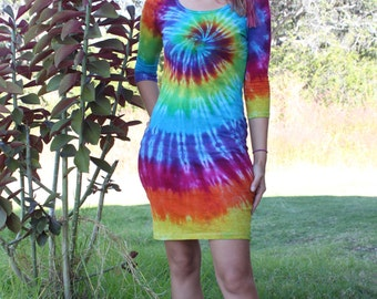 Tie dye three quarter sleeve dress