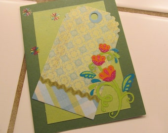 Set of Two Green Floral Cards -- Blank Inside, All Occasion Greeting Cards
