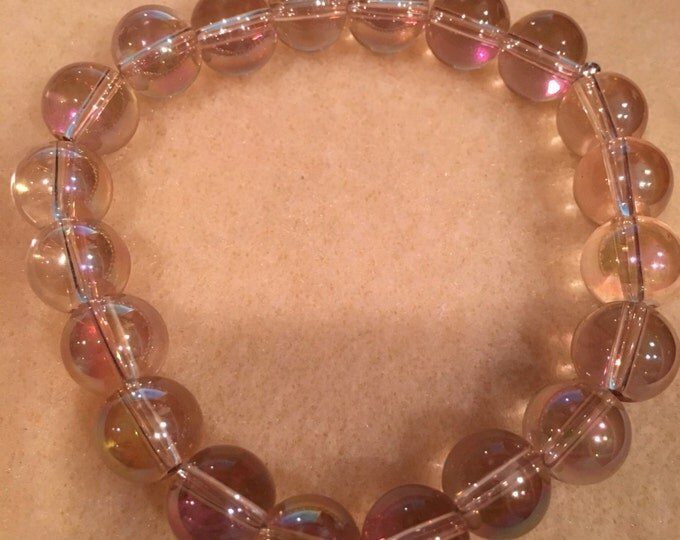 """Yellow Mystic """"Golden Ametrine Aura"""" Aurora Borealis Crystal Glasss 10mm Bead Stretch Bracelet with Sterling Silver Accent"""