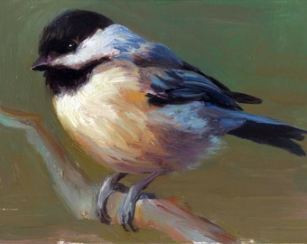Carolina Chickadee - Open Edition Print of Original oil painting