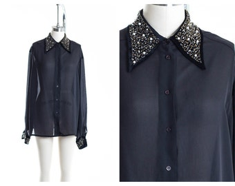 Vtg Sequence Detail Collar Blouse size L
