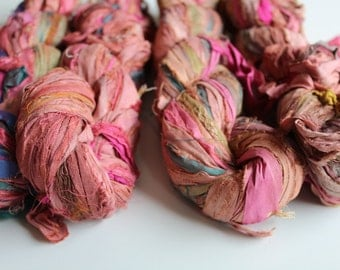 Sari silk ribbon, 100g, craft ribbon, wild orchid, knitting ribbon, jewelry making and arts and crafts, knitting yarn