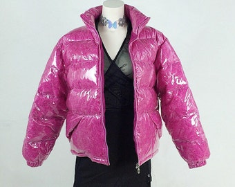 90's See Through Clear Vinyl Pink Feather Filled Puffer Bubble Jacket XS