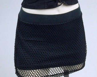 90's Fishnet Overlay Mini Skirt //  S - M