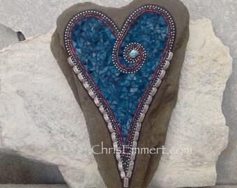 Large Turquoise Heart  Mosaic Garden Stone