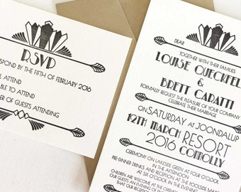 Art Deco Invitation, Letterpress Wedding Invitation, Gatsby Invitations, Wedding Invites, Art Deco Wedding, Invitation Sets Invites and RSVP