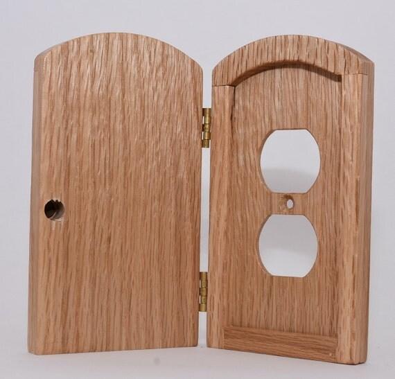 Troll or fairy door decrotive outlet cover doorn oak