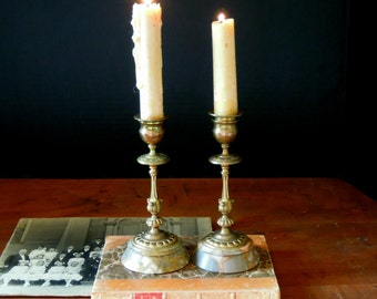 Two Vintage Candle Holders / Brass Candlesticks / Candelabra / Brass Candlestick Marble Base