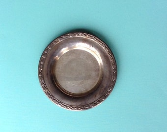 Vintage Silver Plate, Wine Bottle Coaster, Wm. Rogers, Signed