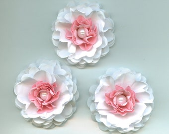 Baby Girl Peony Paper Flowers in Light Pink and White