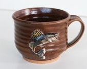 Stoneware Mug with Hand Sculpted Minnesota Walleye - reserved for Carolina