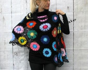Women Accessories Colorful Crochet shawl black  background