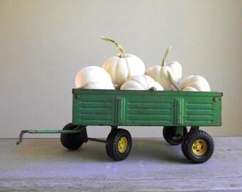 Toy Farm Wagon | Vintage ERTL Farm Trailer with Rear Lift Gate | Green John Deere Toy Wagon | Farmhouse Decor