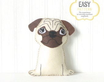 Pug Sewing Pattern, Dog Hand Sewing Pattern, Felt Pug Sewing Pattern, Stuffed Pug Pattern, Easy Dog Sewing, Instant Download