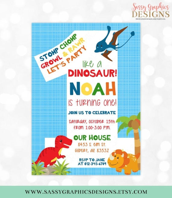 Dinosaur Birthday Invitation Dino Party 1st Birthday TRex Boy