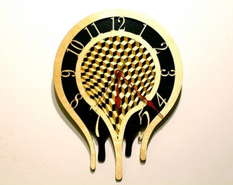 Melting Clock, Laser Cut Wood, Paul Szewc