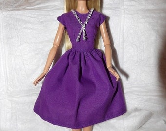 Purple dress with a full skirt & attached clear bead necklace for Fashion Dolls - ed938