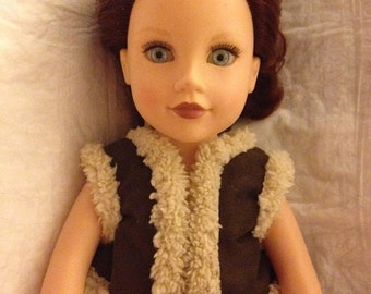Faux Suede & Sherpa vest for 18 inch dolls - ag271